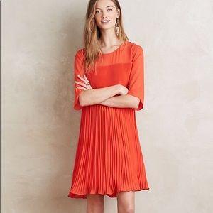 Anthropologie Maeve Edie Swing Orange pleat dress